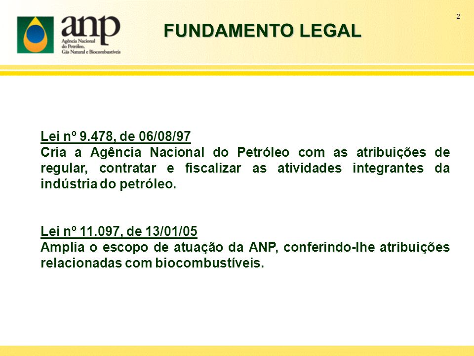 FUNDAMENTO LEGAL Lei nº 9.478, de 06/08/97
