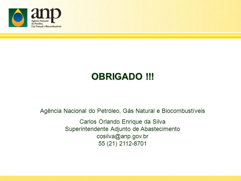 OBRIGADO !!! Agência Nacional do Petróleo, Gás Natural e Biocombustíveis. Carlos Orlando Enrique da Silva.