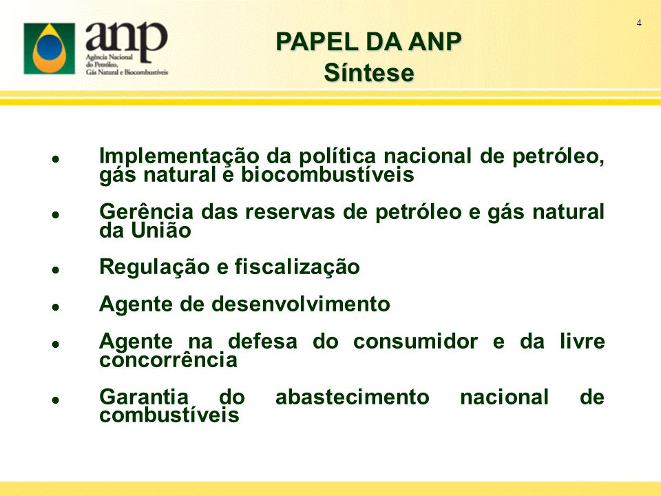 4 PAPEL DA ANP. Síntese. Implementação da política nacional de petróleo, gás natural e biocombustíveis.