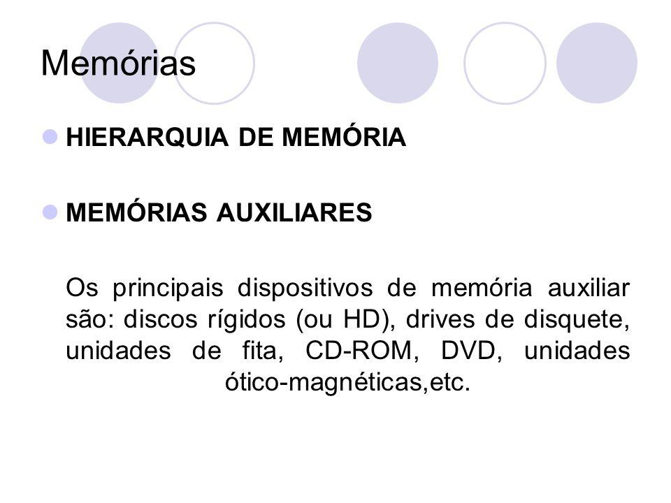 Memórias HIERARQUIA DE MEMÓRIA MEMÓRIAS AUXILIARES