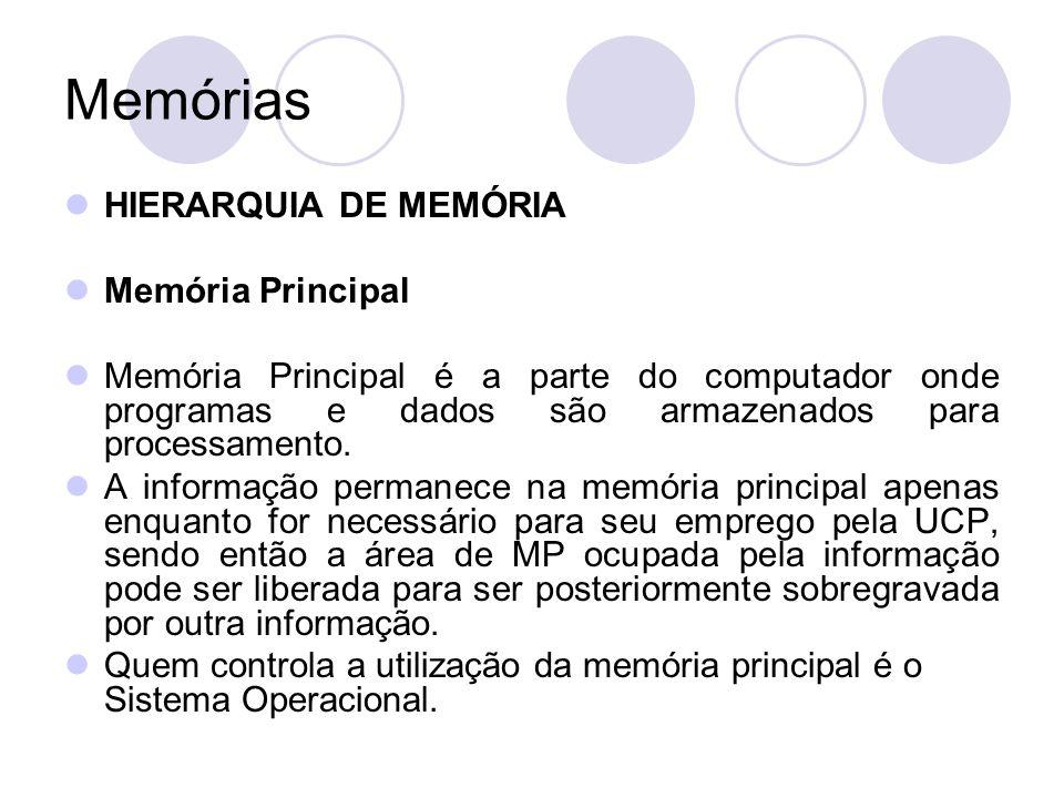 Memórias HIERARQUIA DE MEMÓRIA Memória Principal