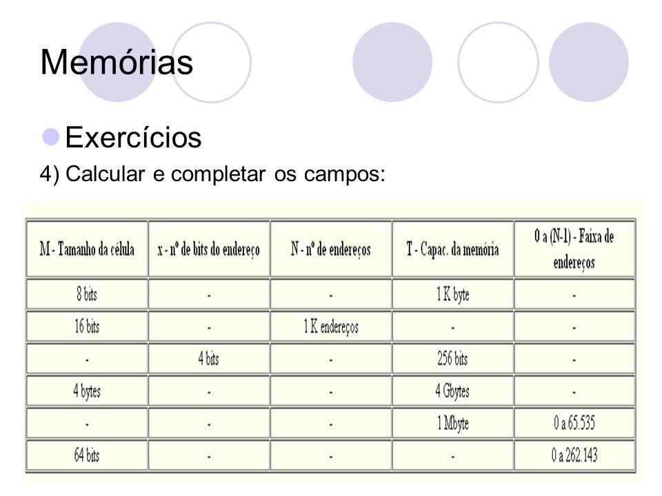 Memórias Exercícios 4) Calcular e completar os campos:
