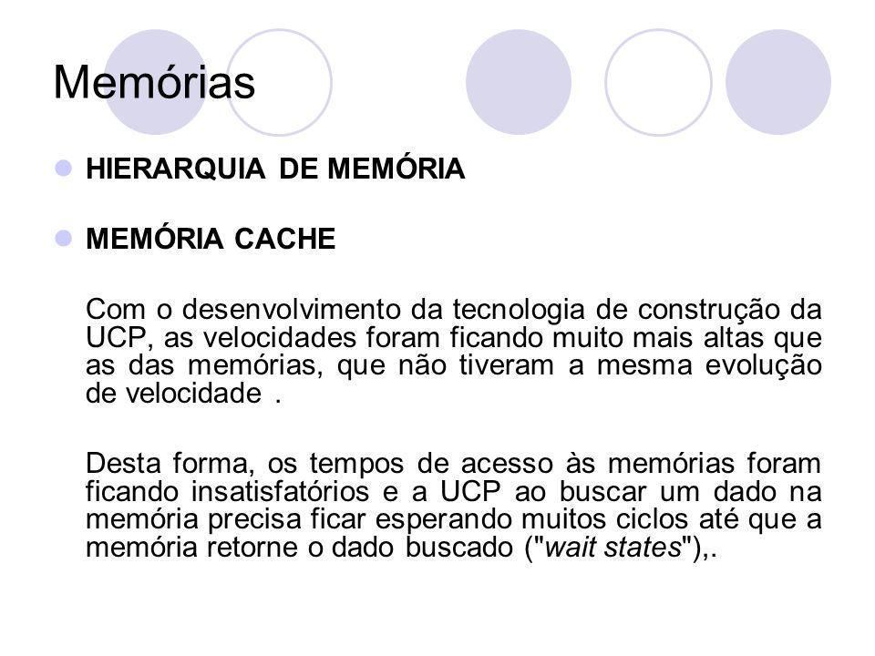Memórias HIERARQUIA DE MEMÓRIA MEMÓRIA CACHE