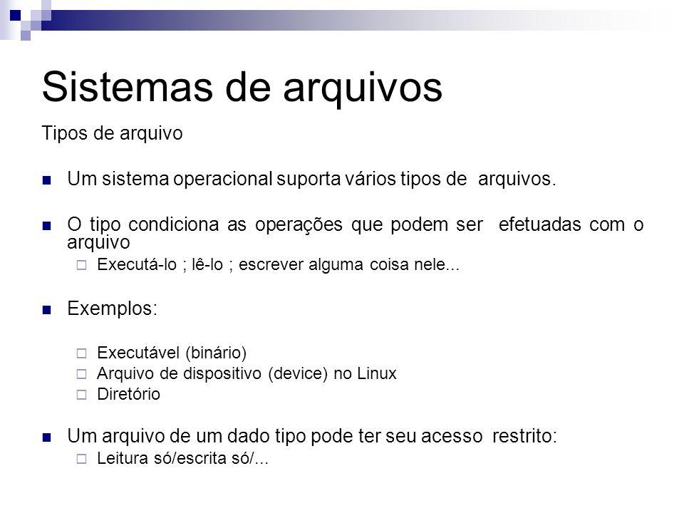 Sistemas de arquivos Tipos de arquivo