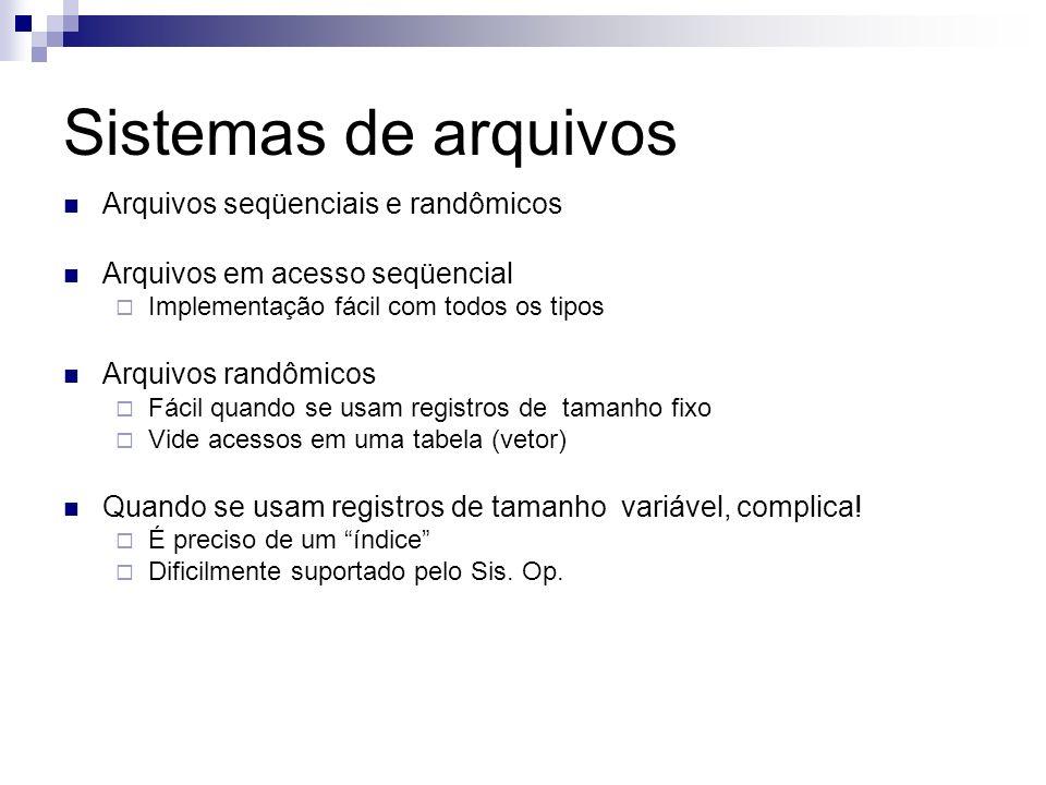 Sistemas de arquivos Arquivos seqüenciais e randômicos