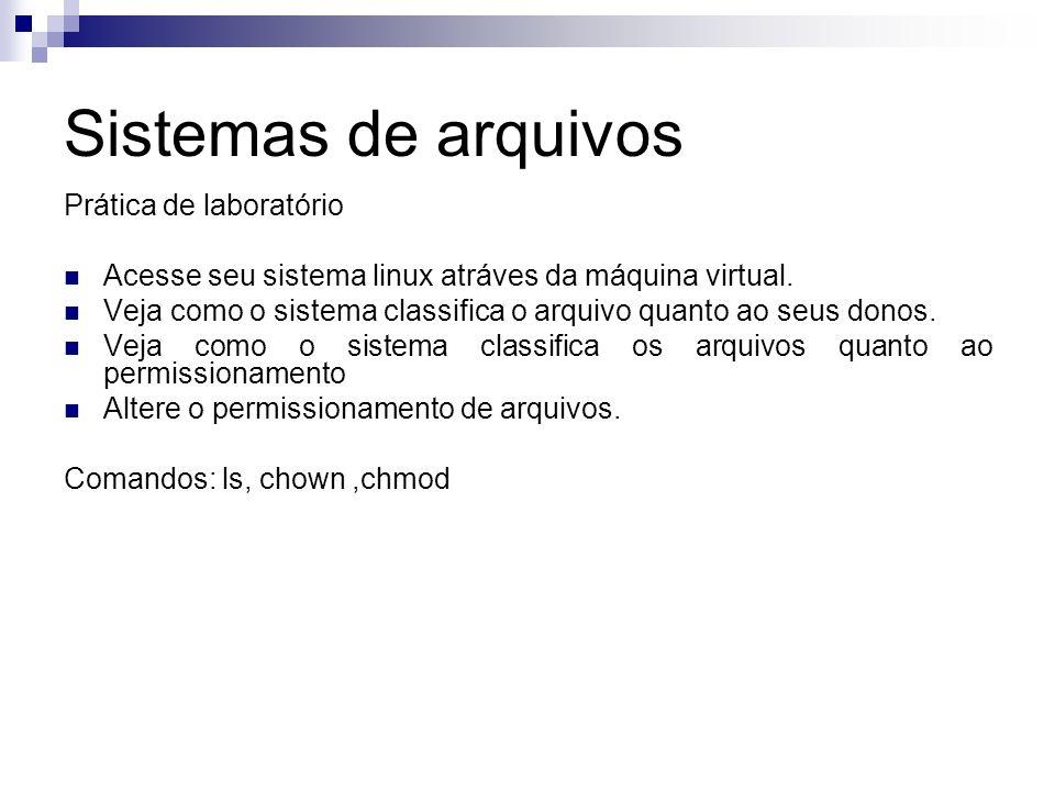 Sistemas de arquivos Prática de laboratório