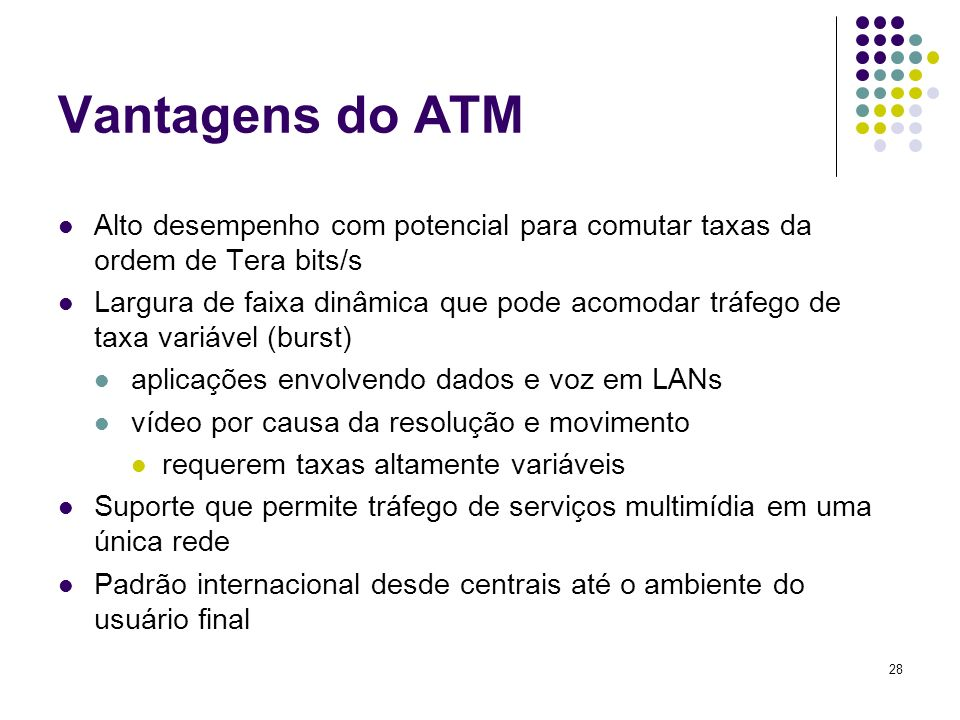 Vantagens do ATM Alto desempenho com potencial para comutar taxas da ordem de Tera bits/s.