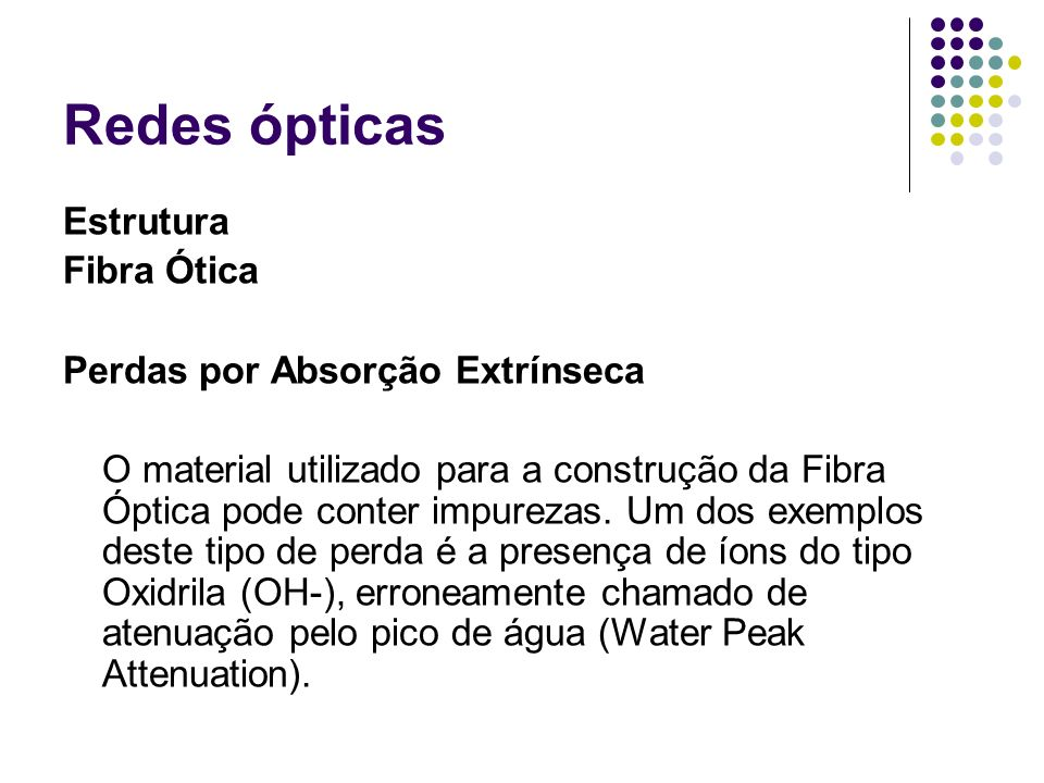 Redes ópticas Estrutura Fibra Ótica Perdas por Absorção Extrínseca