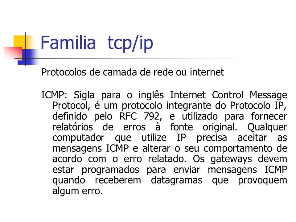 Familia tcp/ip Protocolos de camada de rede ou internet