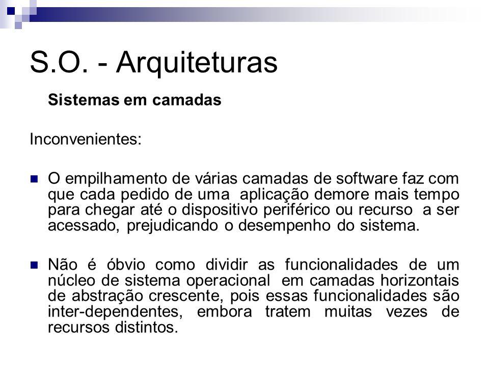 S.O. - Arquiteturas Sistemas em camadas Inconvenientes: