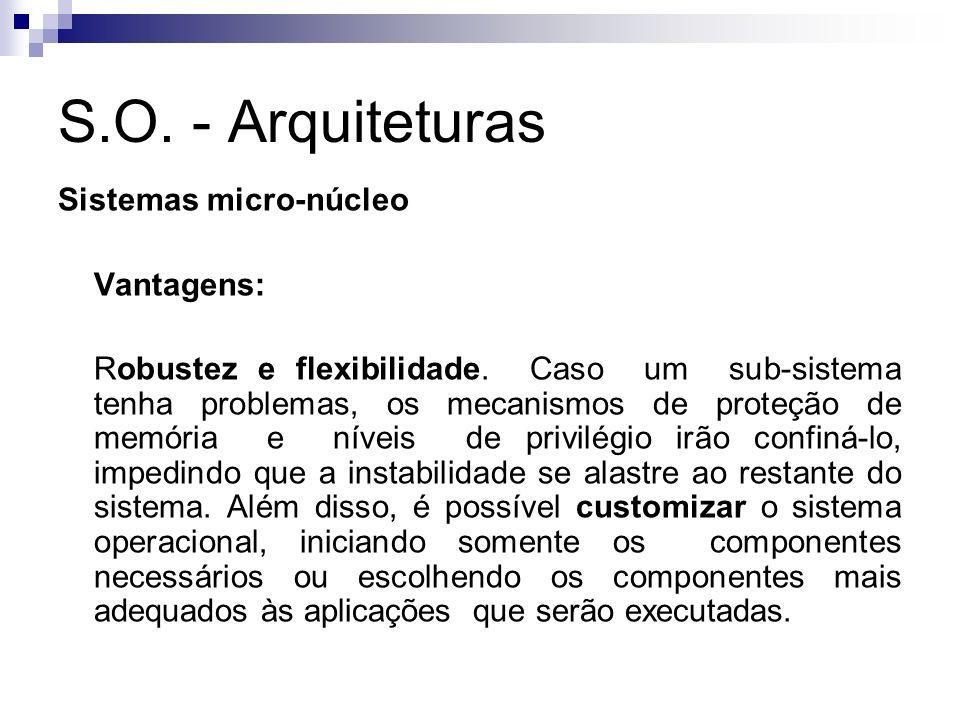 S.O. - Arquiteturas Sistemas micro-núcleo Vantagens: