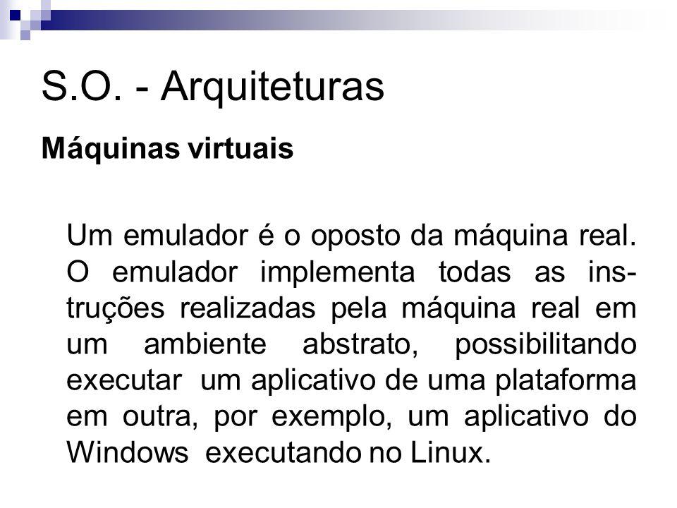 S.O. - Arquiteturas Máquinas virtuais