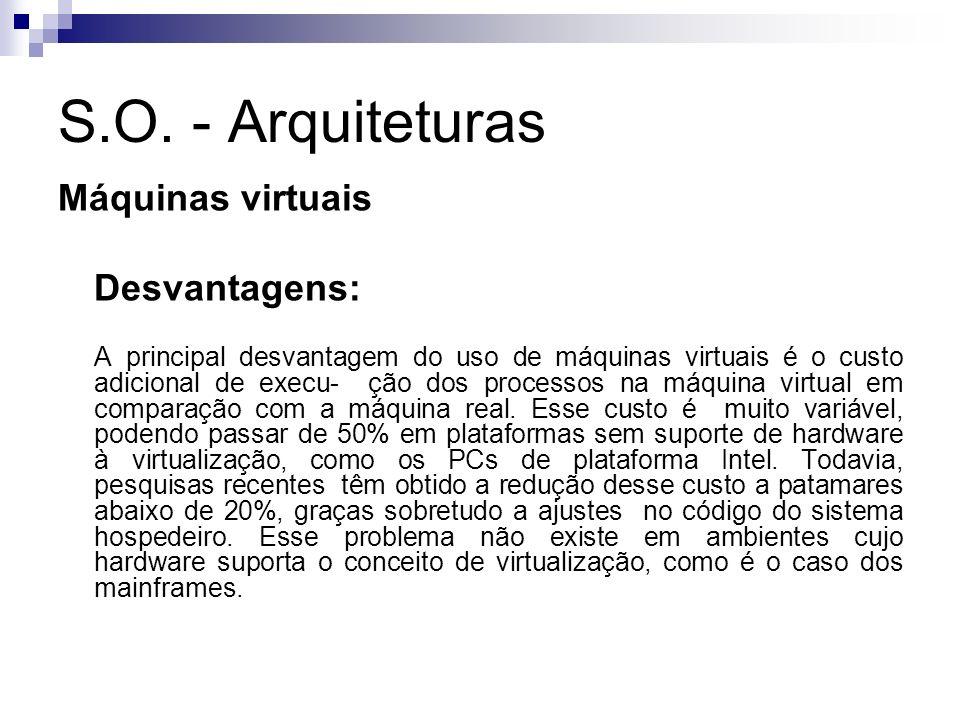 S.O. - Arquiteturas Máquinas virtuais Desvantagens: