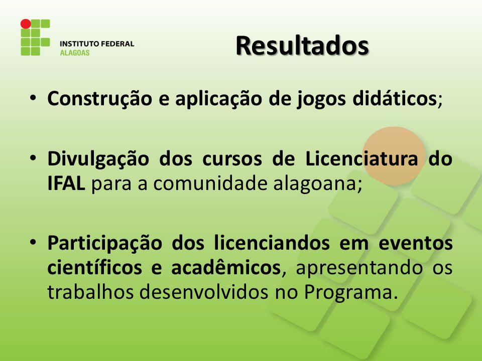 Resultados Construção e aplicação de jogos didáticos;