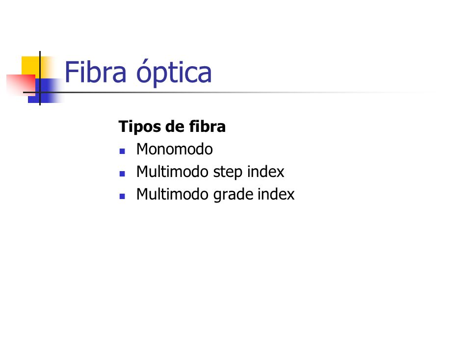 Fibra óptica Tipos de fibra Monomodo Multimodo step index