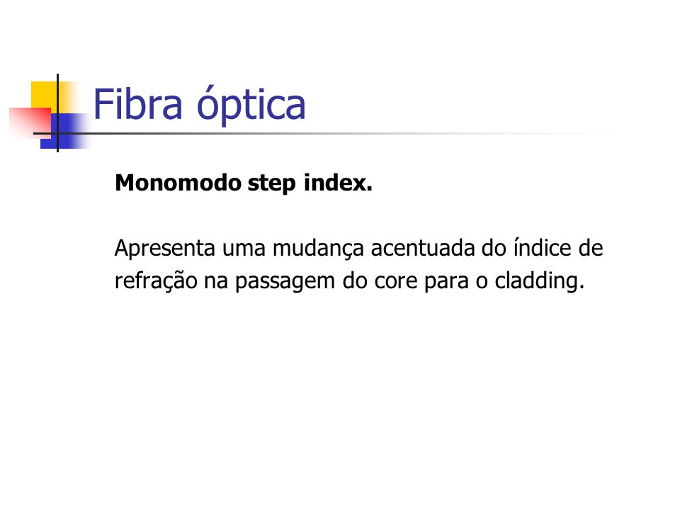 Fibra óptica Monomodo step index.