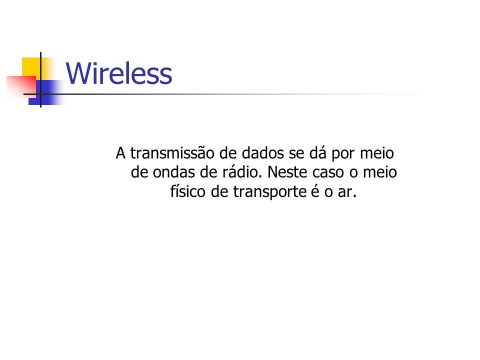 Wireless A transmissão de dados se dá por meio de ondas de rádio.