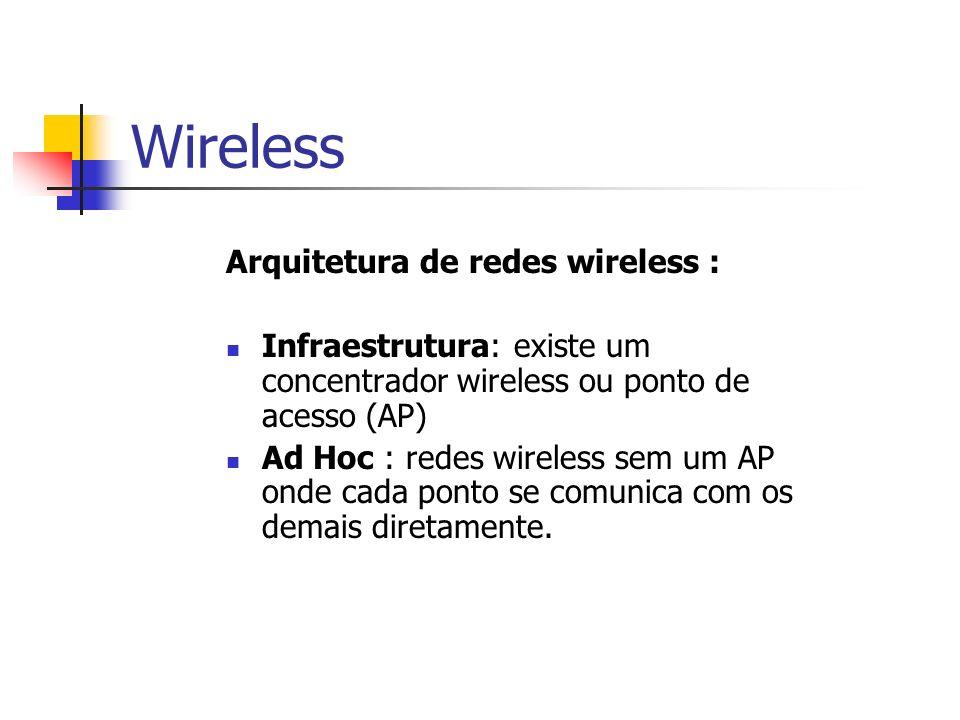 Wireless Arquitetura de redes wireless :
