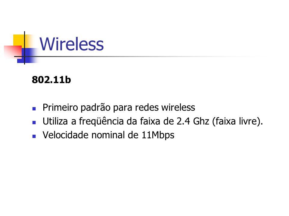 Wireless 802.11b Primeiro padrão para redes wireless