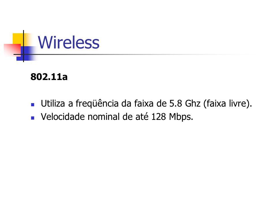 Wireless 802.11a. Utiliza a freqüência da faixa de 5.8 Ghz (faixa livre).