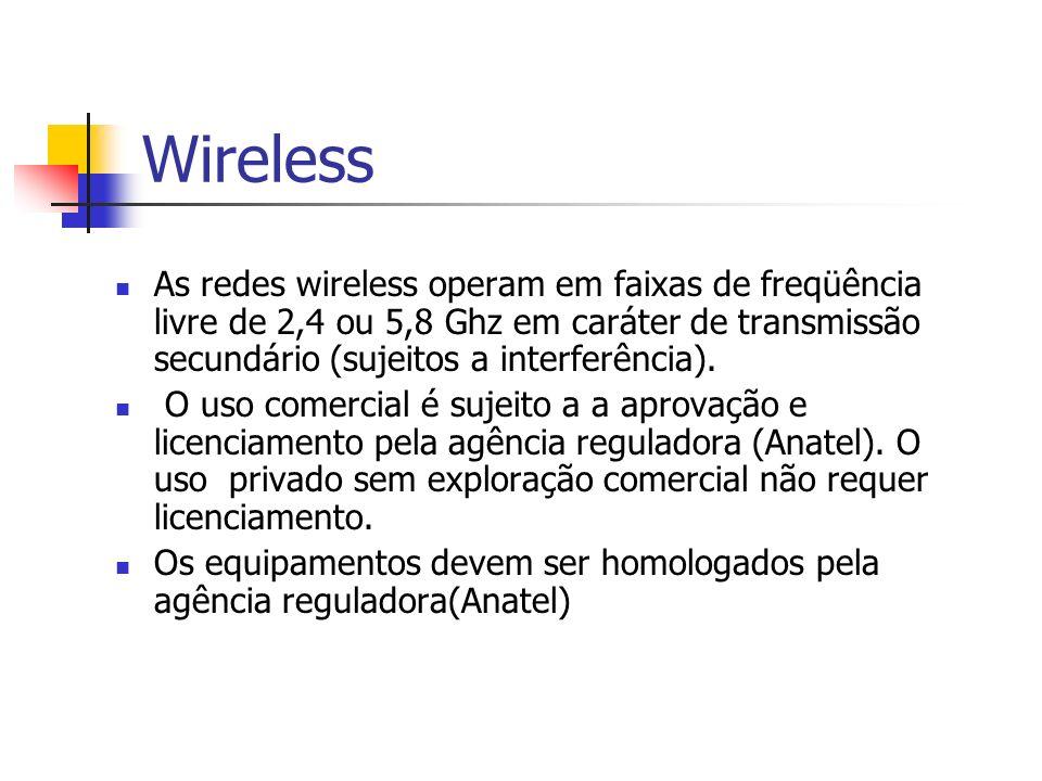 Wireless As redes wireless operam em faixas de freqüência livre de 2,4 ou 5,8 Ghz em caráter de transmissão secundário (sujeitos a interferência).