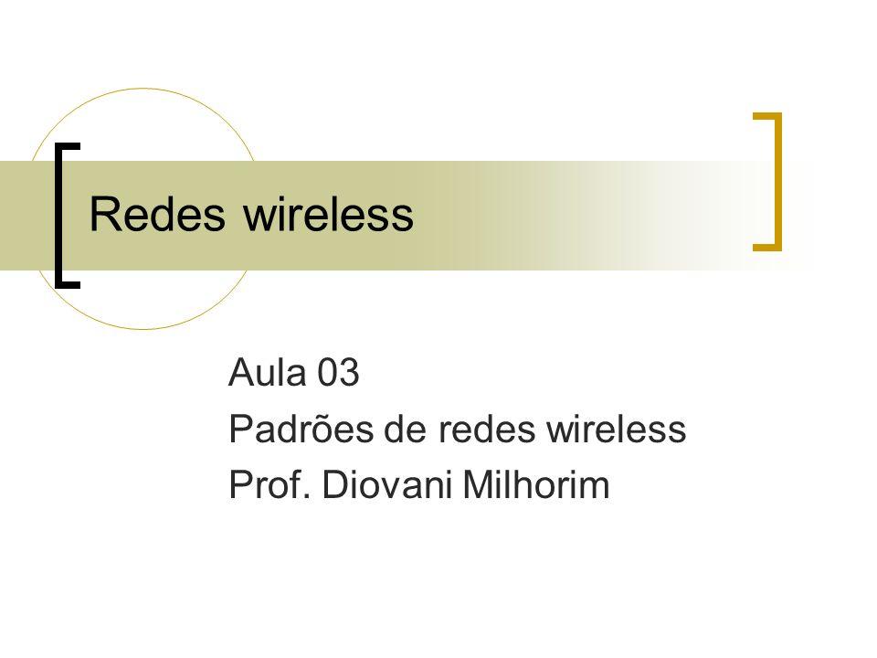 Aula 03 Padrões de redes wireless Prof. Diovani Milhorim
