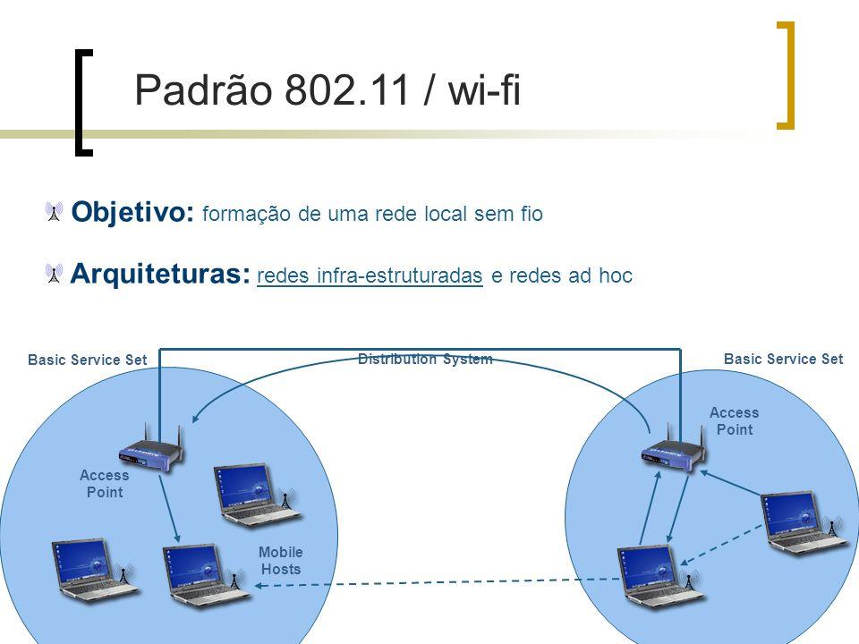 Padrão 802.11 / wi-fi Objetivo: formação de uma rede local sem fio