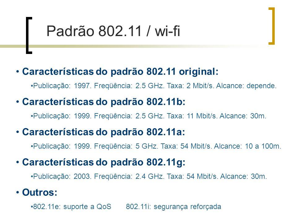 Padrão 802.11 / wi-fi Características do padrão 802.11 original: