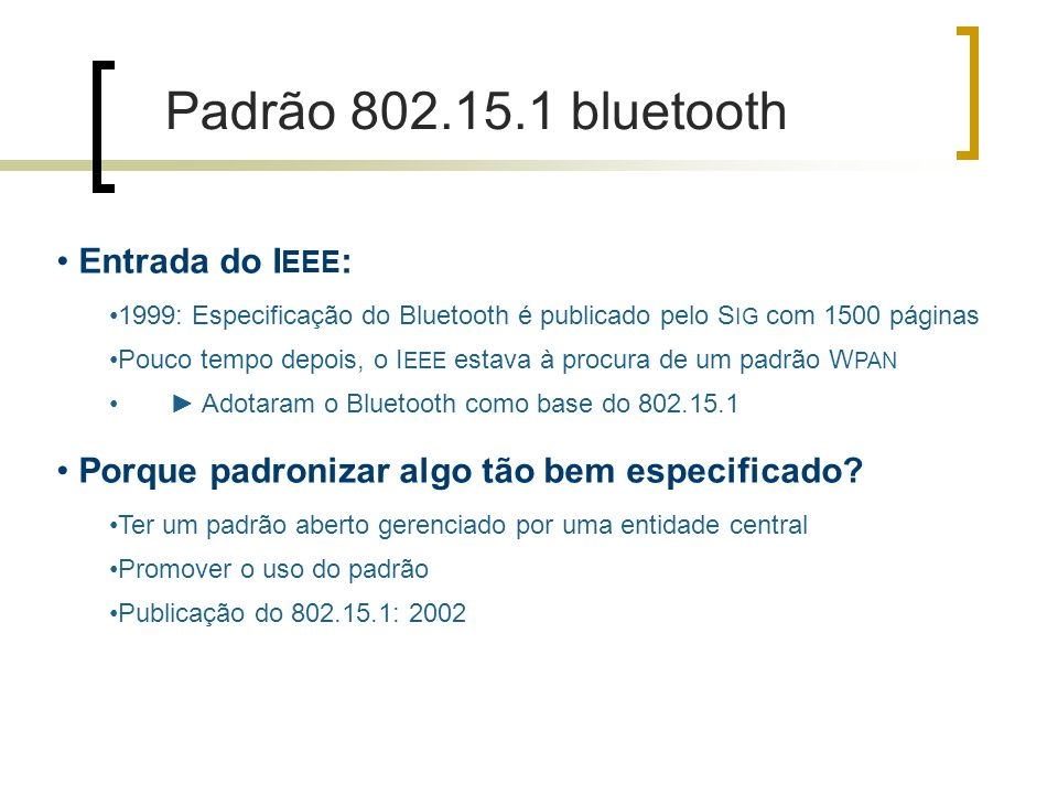 Padrão bluetooth Entrada do IEEE: