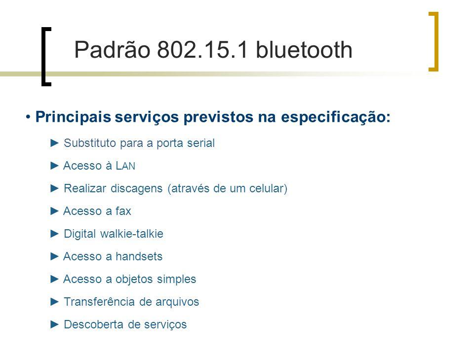 Padrão 802.15.1 bluetooth Principais serviços previstos na especificação: ► Substituto para a porta serial.