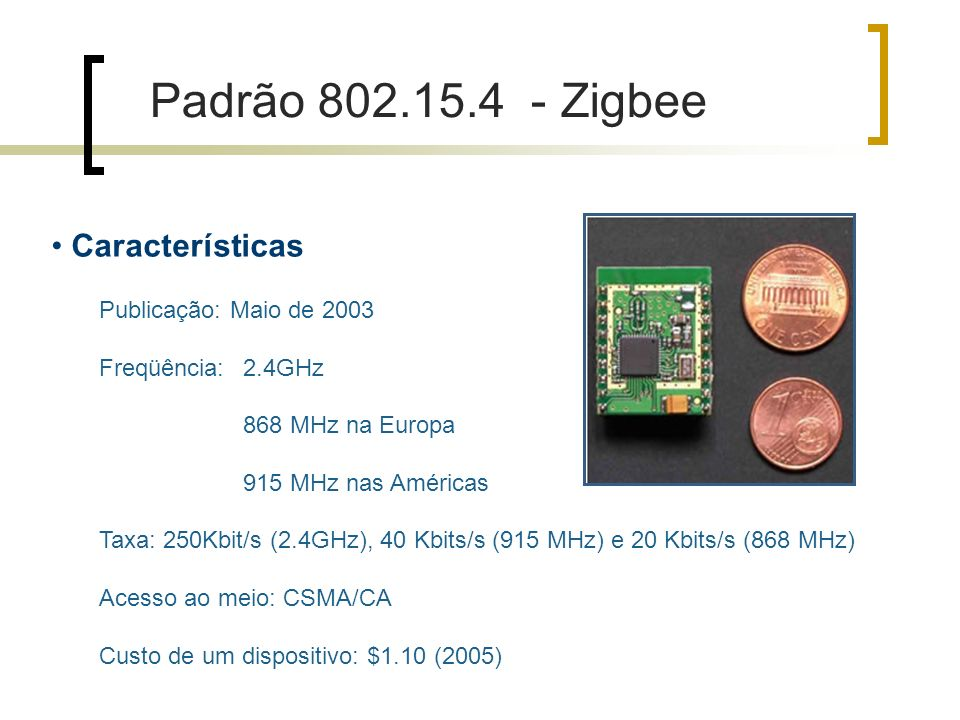 Padrão 802.15.4 - Zigbee Características Publicação: Maio de 2003