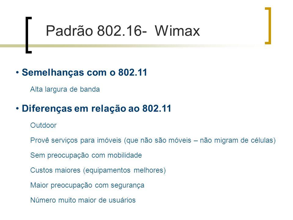 Padrão 802.16- Wimax Semelhanças com o 802.11