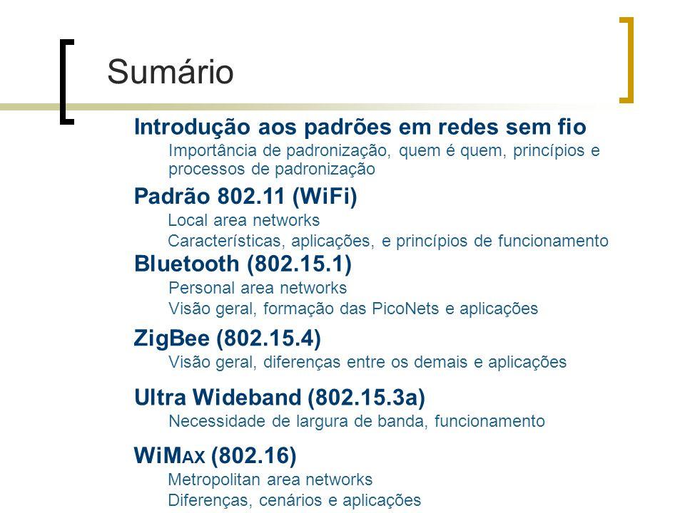 Sumário Introdução aos padrões em redes sem fio Padrão 802.11 (WiFi)