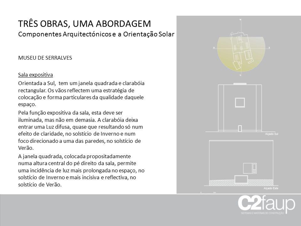 TRÊS OBRAS, UMA ABORDAGEM Componentes Arquitectónicos e a Orientação Solar