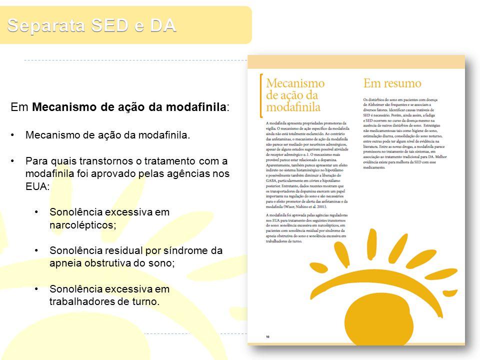 Separata SED e DA Em Mecanismo de ação da modafinila: