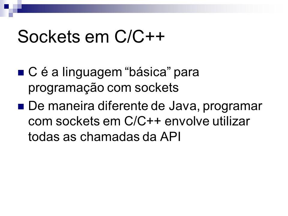Sockets em C/C++ C é a linguagem básica para programação com sockets
