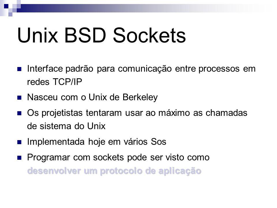 Unix BSD Sockets Interface padrão para comunicação entre processos em redes TCP/IP. Nasceu com o Unix de Berkeley.