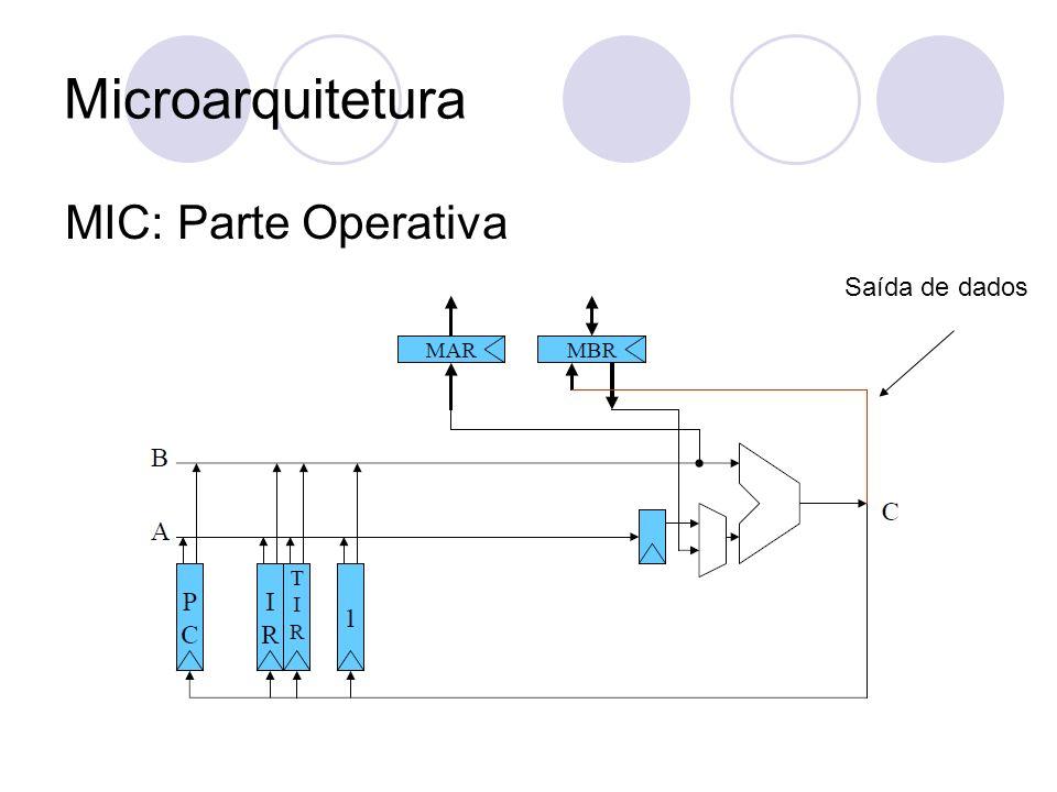 Microarquitetura MIC: Parte Operativa Saída de dados