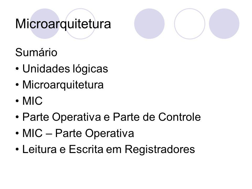 Microarquitetura Sumário • Unidades lógicas • Microarquitetura • MIC