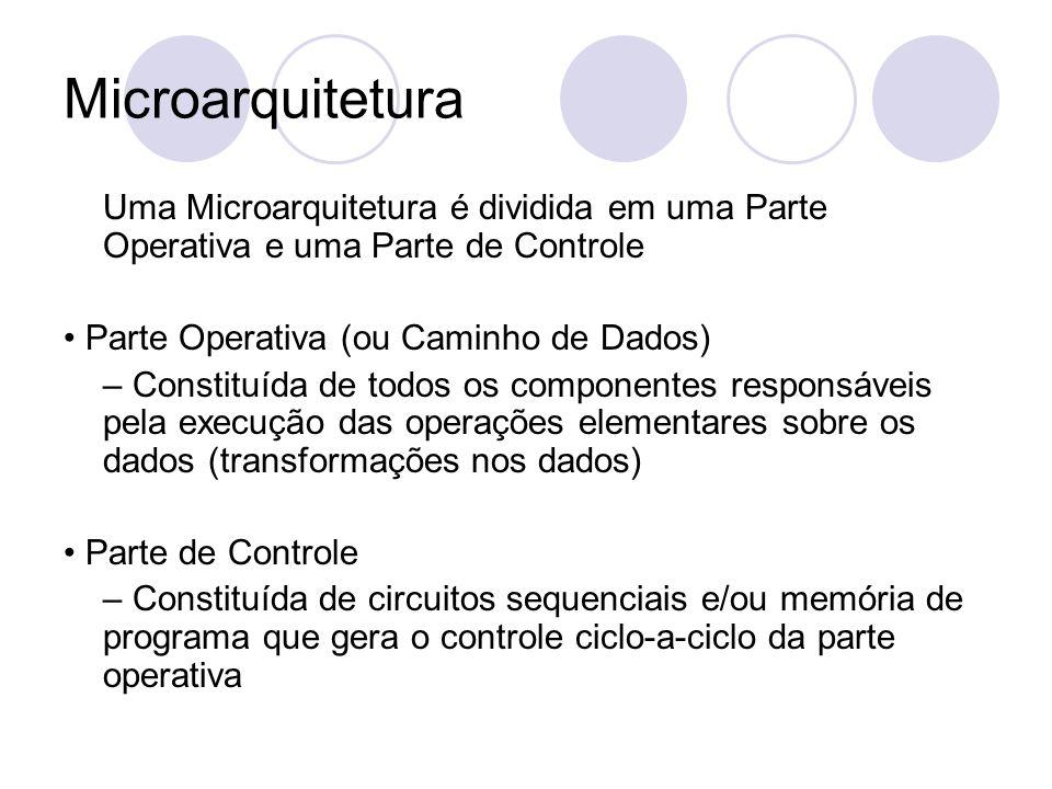 Microarquitetura Uma Microarquitetura é dividida em uma Parte Operativa e uma Parte de Controle. • Parte Operativa (ou Caminho de Dados)