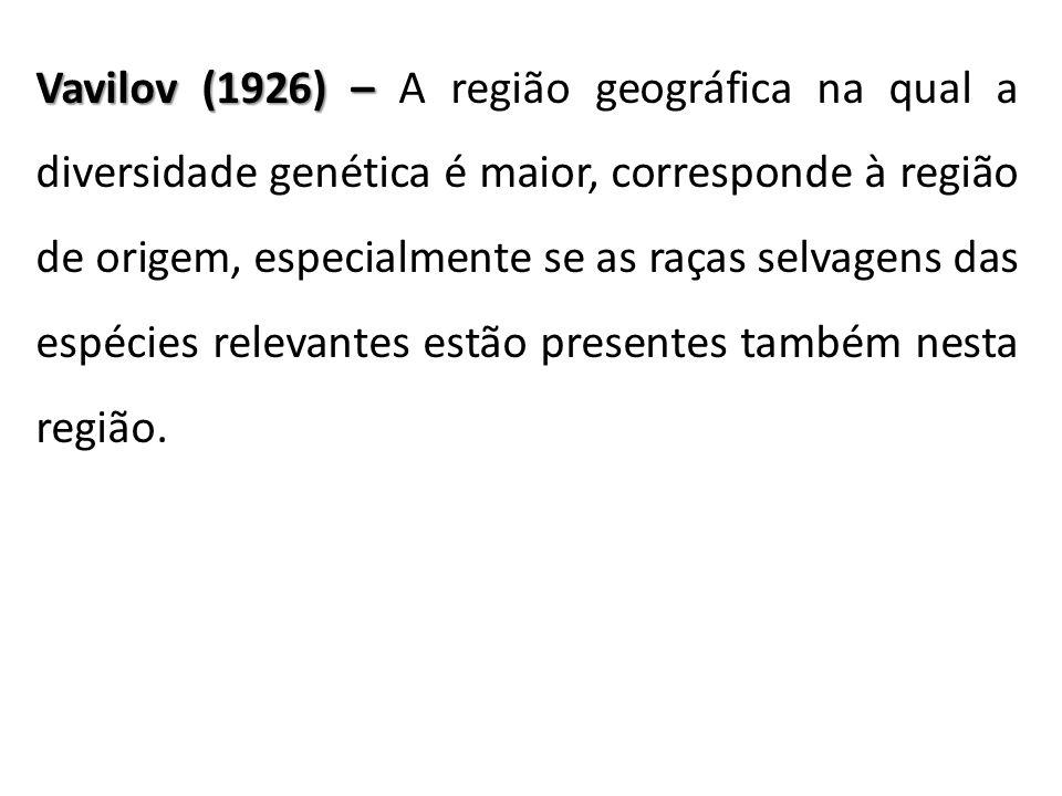 Vavilov (1926) – A região geográfica na qual a diversidade genética é maior, corresponde à região de origem, especialmente se as raças selvagens das espécies relevantes estão presentes também nesta região.