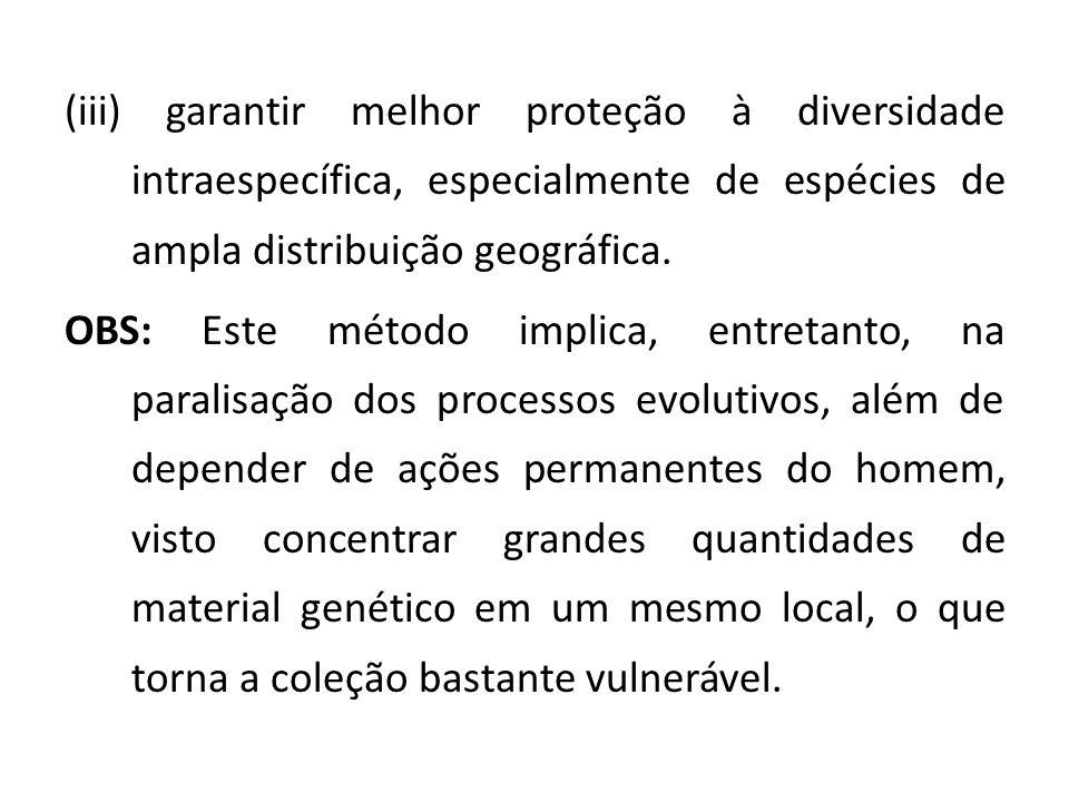 (iii) garantir melhor proteção à diversidade intraespecífica, especialmente de espécies de ampla distribuição geográfica.