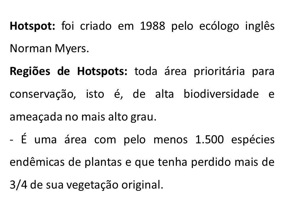 Hotspot: foi criado em 1988 pelo ecólogo inglês Norman Myers.