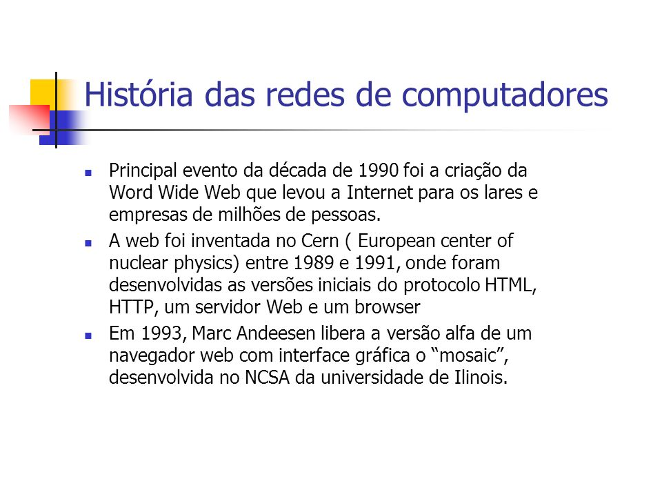 História das redes de computadores