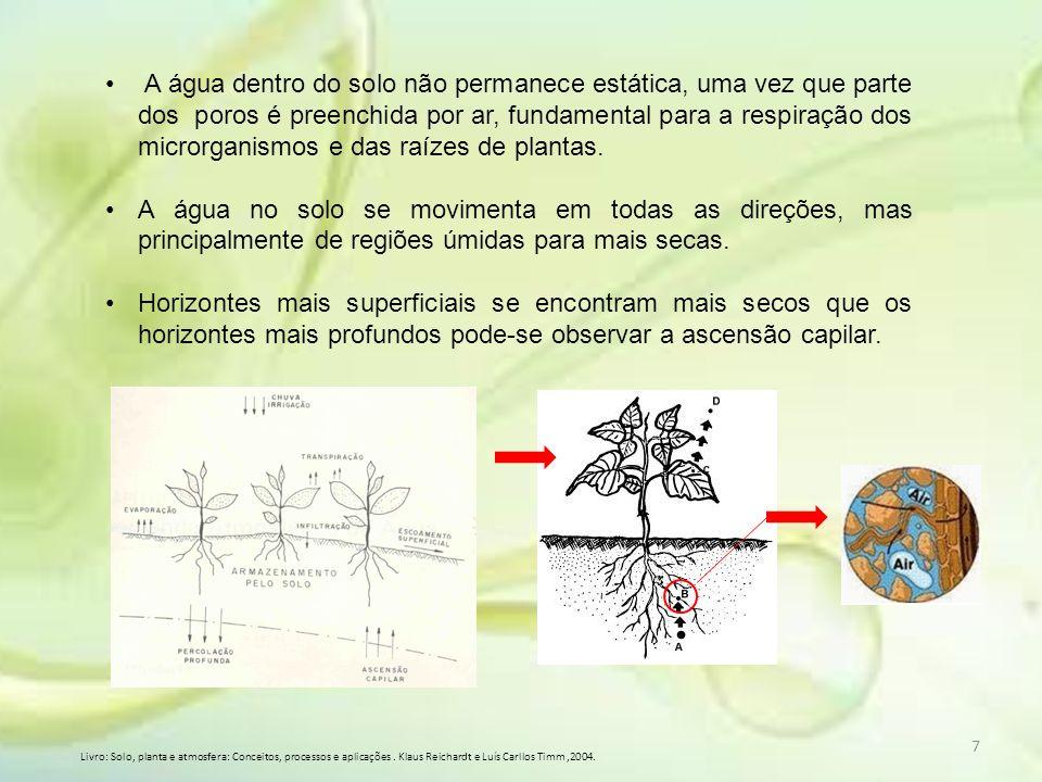 A água dentro do solo não permanece estática, uma vez que parte dos poros é preenchida por ar, fundamental para a respiração dos microrganismos e das raízes de plantas.