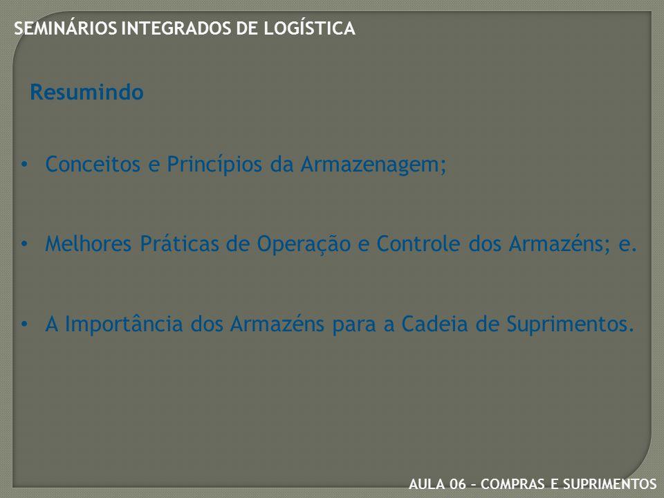 Resumindo Conceitos e Princípios da Armazenagem; Melhores Práticas de Operação e Controle dos Armazéns; e.
