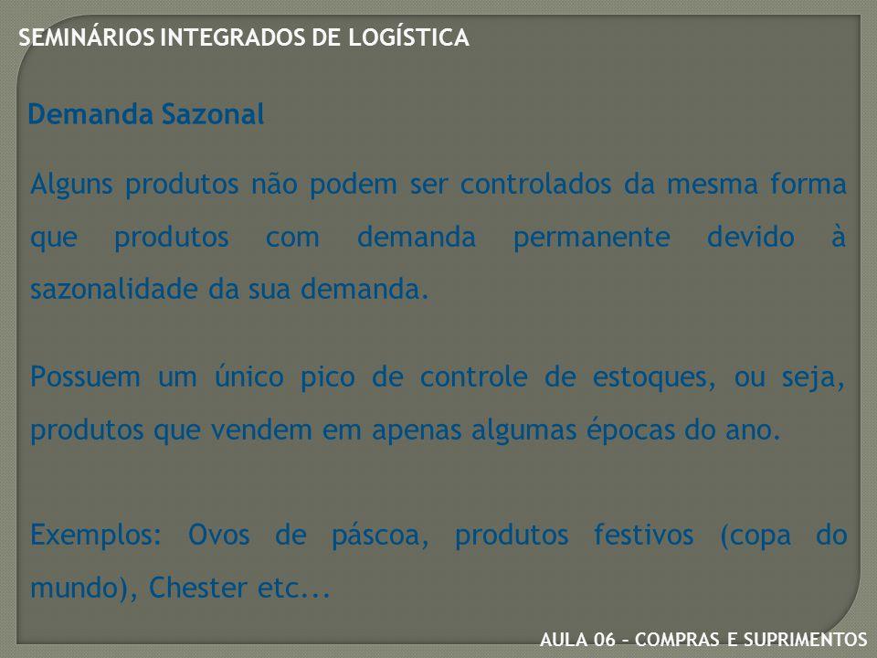 Demanda Sazonal Alguns produtos não podem ser controlados da mesma forma que produtos com demanda permanente devido à sazonalidade da sua demanda.