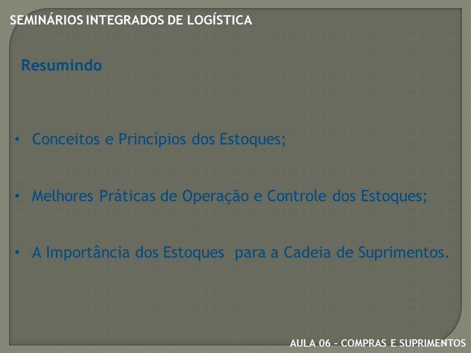 Resumindo Conceitos e Princípios dos Estoques; Melhores Práticas de Operação e Controle dos Estoques;