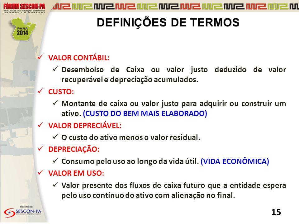 DEFINIÇÕES DE TERMOS VALOR CONTÁBIL: