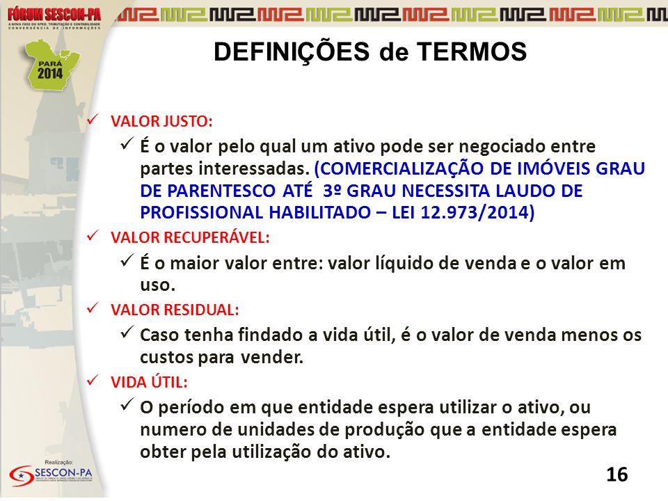 DEFINIÇÕES de TERMOS VALOR JUSTO: